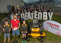 Picture by Jonathan Becker/SWpix.com - 25/02/2019 - CreatedBy RLWC 2021 - Small Grants Award - Aspatria Hornets RLFC, Aspatria, England - England and Leeds Rhinos Wheelchair Rugby League player James Simpson  presents a grass cutter to Aspatria Hornets Rugby League Club including Lewis Fisher and Mollie Nicholson from the U11's team.