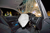 Deployed airbags and broken windscreen in a car after a road traffic accident. This image may only be used to portray the subject in a positive manner..©shoutpictures.com..john@shoutpictures.com