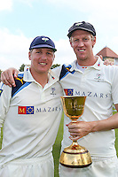 Picture by Alex Whitehead/SWpix.com - 12/09/2014 - Cricket - LV County Championship Div One - Nottinghamshire CCC v Yorkshire CCC, Day 4 - Trent Bridge, Nottingham, England - Yorkshire's Gary Balance and Steven Patterson with the trophy.