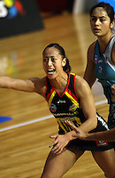Magic wing attack Frances Solia calls for the ball during the ANZ Netball Championship match between the Waikato Bay of Plenty Magic and Adelaide Thunderbirds, Mystery Creek Events Centre, Hamilton, New Zealand on Sunday 19 July 2009. Photo: Dave Lintott / lintottphoto.co.nz