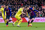 Lionel Messi of FC Barcelona (R) in action against Santiago Caseres of Villarreal (C) during the La Liga 2018-19 match between FC Barcelona and Villarreal at Camp Nou on 02 December 2018 in Barcelona, Spain. Photo by Vicens Gimenez / Power Sport Images