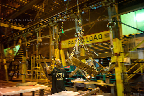 Lima, Ohio.March 2012..Small parts assembly line...The Joint Systems Manufacturing Center (US Army Tank Plant) which is the only heavy armored tank factory in the United States. They build and refurbish Abrams tanks, Stryker armored personnel carriers, and other weapons systems.