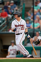 Rochester Red Wings Brian Schales (13) at bat during an International League game against the Scranton/Wilkes-Barre RailRiders on June 24, 2019 at Frontier Field in Rochester, New York.  Rochester defeated Scranton 8-6.  (Mike Janes/Four Seam Images)