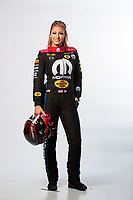 Feb 6, 2019; Pomona, CA, USA; NHRA top fuel driver Leah Pritchett poses for a portrait during NHRA Media Day at the NHRA Museum. Mandatory Credit: Mark J. Rebilas-USA TODAY Sports