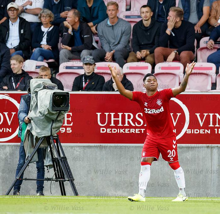 08.08.2019 FC Midtjylland v Rangers: Alfredo Morelos celebrates his goal