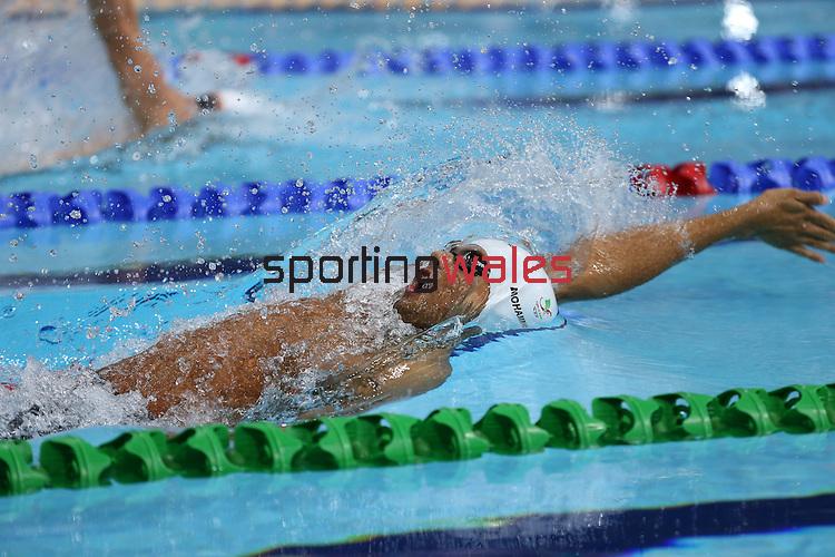 Glasgow 2014 Commonwealth Games<br /> Xavier Mohammed (Wales) swimming in the Men's 200m Backstroke.<br /> <br /> <br /> 28.07.14<br /> ©Steve Pope-SPORTINGWALES