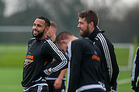 Wednesday  06 January 2016<br /> Pictured: Kyle Bartley and Kristoffer Nordfeldt of Swansea <br /> Re: Swansea City Training session at the Fairwood training ground, Swansea, Wales, UK