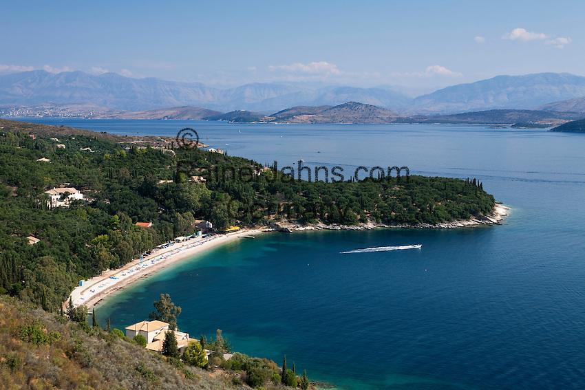 Greece, Corfu, Kerasia Beach: View over beach on North East of island over to coastline of Albania