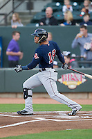 Yoan Moncada (19) of the Salem Red Sox follows through on his swing against the Winston-Salem Dash at BB&T Ballpark on April 15, 2016 in Winston-Salem, North Carolina.  The Red Sox defeated the Dash 3-2.  (Brian Westerholt/Four Seam Images)