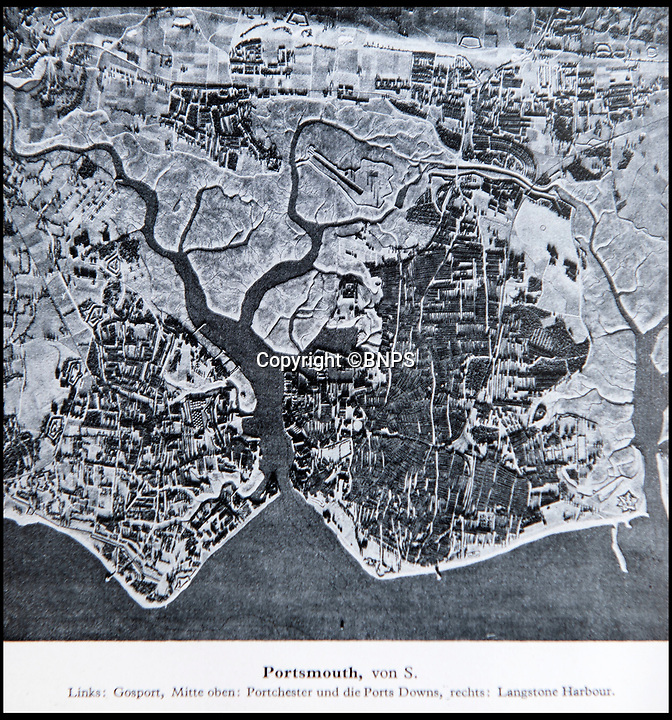 BNPS.co.uk (01202 558833)<br /> Pic: PhilYeomans/BNPS<br /> <br /> Luftwaffe eye view of Portsmouth.<br /> <br /> Chilling - Hitlers 'How to' guide to the invasion of Britain.<br /> <br /> A remarkably detailed invasion plan pack of Britain has been unearthed to reveal how our genteel seaside resorts would have been in the front line had Hitler got his way in World War Two.<br /> <br /> The Operation Sea Lion documents, which were issued to German military headquarters' on August 1, 1940, contain numerous maps and photos of every town on the south coast.<br /> <br /> They provide a chilling reminder of how well prepared a German invading force would have been had the Luftwaffe not been rebuffed by The Few in the Battle of Britain.<br /> <br /> There is a large selection of black and white photos of seaside resorts and notable landmarks stretching all the way from Land's End in Cornwall to Broadstairs in Kent.<br /> <br /> The pack also features a map of Hastings, raising the possibility that a second battle could have been staged there, almost 900 years after the invading William The Conqueror triumphed in 1066.