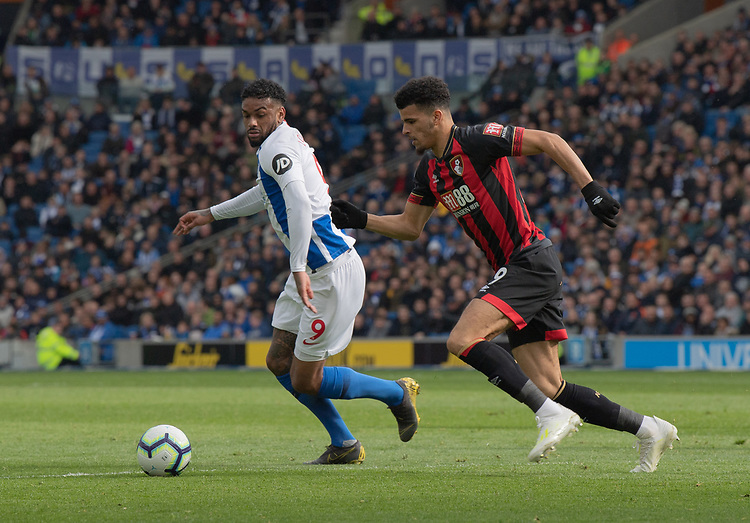 Brighton & Hove Albion's Jurgen Locadia (left) under pressure from Bournemouth's Dominic Solanke (right) <br /> <br /> Photographer David Horton/CameraSport<br /> <br /> The Premier League - Brighton and Hove Albion v Bournemouth - Saturday 13th April 2019 - The Amex Stadium - Brighton<br /> <br /> World Copyright © 2019 CameraSport. All rights reserved. 43 Linden Ave. Countesthorpe. Leicester. England. LE8 5PG - Tel: +44 (0) 116 277 4147 - admin@camerasport.com - www.camerasport.com