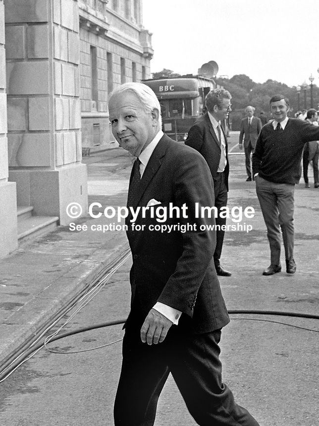 Ulster Unionist assemblyman &amp; Party leader, Brian Faulkner, arrives at Parliament Building, Stormont, Belfast, for the first meeting of the newly-elected N Ireland Assembly.  197307310525a.<br />