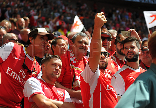 August 6th 2017, Wembley Stadium, London, England; FA Community Shield Final; Arsenal versus Chelsea; fans take a selfie in the sunshine