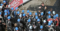 11 AUG 2007 - NOTTINGHAM, UK - Competitors tag after the second leg of the afternoons swim - British Club Relay Triathlon Championships. (PHOTO (C) NIGEL FARROW)