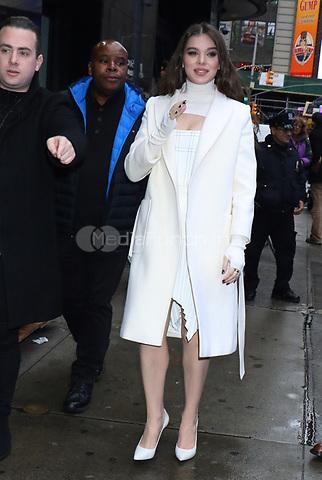 NEW YORK, NY- November 12: Hailee Steinfeld at Strahan, Sara & Keke promoting the Apple TV series Dickinson on November 12, 2019  in New York City. Credit: RW/MediaPunch