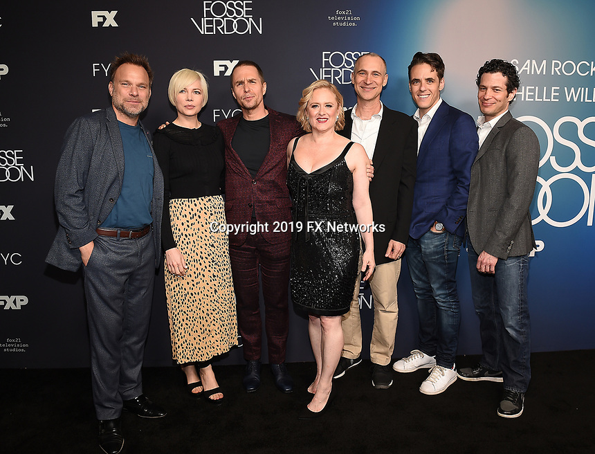 """LOS ANGELES - MAY 30: Cast members  Norbert Leo Butz, Michelle Williams, and Sam Rockwell and Executive Producers  Nicole Fosse,  Joel Fields, Steven Levenson, and Tommy Kail attend the FYC Event for Fox 21 TV Studios & FX's """"Fosse/Verdon"""" at the Samuel Goldwyn Theater on May 30, 2019 in Los Angeles, California. (Photo by Frank Micelotta/FX/PictureGroup)"""
