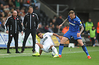 Swansea City's Wayne Routledge is fouled by Bolton Wanderers' David Wheater<br /> <br /> Photographer Kevin Barnes/CameraSport<br /> <br /> The EFL Sky Bet Championship - Swansea City v Bolton Wanderers - Saturday 2nd March 2019 - Liberty Stadium - Swansea<br /> <br /> World Copyright © 2019 CameraSport. All rights reserved. 43 Linden Ave. Countesthorpe. Leicester. England. LE8 5PG - Tel: +44 (0) 116 277 4147 - admin@camerasport.com - www.camerasport.com