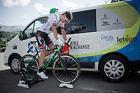 Daryl Impey (ZAF/Orica-BikeExchange) warming down after finishing his ITT<br /> <br /> Stage 18 (ITT) - Sallanches › Megève (17km)<br /> 103rd Tour de France 2016