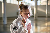 USA, Oahu, Hawaii, portrait of a young girl Jujitsu Martial Arts fighter before the start of the ICON grappling tournament in Honolulu