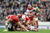 Willi Heinz of Gloucester Rugby passes the ball. Aviva Premiership match, between Leicester Tigers and Gloucester Rugby on September 16, 2017 at Welford Road in Leicester, England. Photo by: Patrick Khachfe / JMP