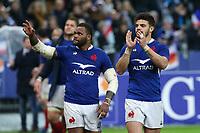 2nd February 2020, Stade de France, Paris; France, 6-Nations International rugby union, France versus England;  Joie - Romain Ntamack (France) and Virimi Vakatawa (France) thank the fans