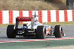 19.02.2013 Montmelo, Barcelona, Spain. Pre-seasson testing day 1. Picture show  McLaren, Sergio Perez driving MP4-28 at Circuit de Catalunya