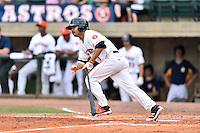 Raymond Henderson (9) of the Greeneville Astros swings at a pitch during a game against the Kingsport Mets at Pioneer Park on July 3, 2016 in Greeneville, Tennessee. The Mets defeated the Astros 11-0. (Tony Farlow/Four Seam Images)