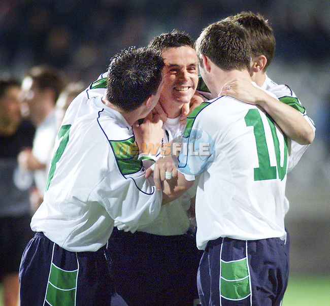 Ian Harte and Robbie Keane celebrating with Gary Kelly after he scored Ireland's 3rd goal against Cyprus in Nicosia..Picture: Paul Mohan/Newsfile
