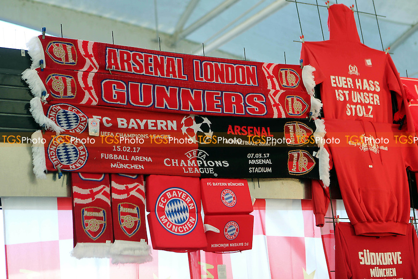 Scarves on display outside the ground prior to kick-off during FC Bayern Munich vs Arsenal, UEFA Champions League Football at the Allianz Arena on 15th February 2017