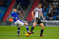Oldham Athletic's Jack Byrne and (L) in action with Rochdale's Ian Henderson (R) during the Sky Bet League 1 match between Oldham Athletic and Rochdale at Boundary Park, Oldham, England on 18 November 2017. Photo by Juel Miah/PRiME Media Images
