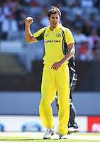 Mitchell Starc celebrates the wicket of Latham.<br /> International One Day Cricket. Chappell&ndash;Hadlee Trophy, Game 1. Eden Park Monday 30 January 2017 &copy; Copyright photo: Andrew Cornaga / www.photosport.nz