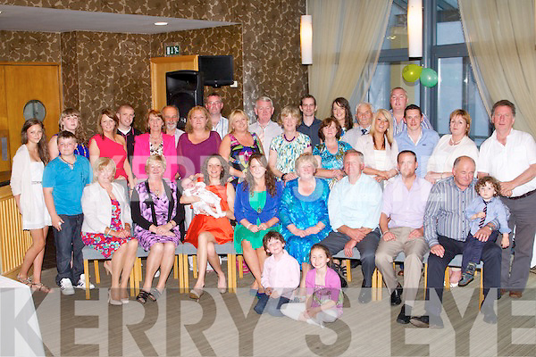 RETIREMENT: Mary McCarthy with her husband Jerm, Kilflynn (seated centre) who retired from Kilflynn NS after 40th years celebrating with family and friends at the Ballyroe Heights hotel, Tralee on Friday.