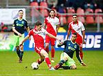 Nederland, Utrecht, 23 december 2012.Eredivisie .Seizoen 2012-2013.FC Utrecht-Ajax.Thomas Oar (2e van links.) van FC Utrecht en Ricardo van Rhijn (2e van rechts.) van Ajax strijden om de bal.
