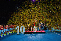 27th October 2019; St. Jakobshalle, Basel, Switzerland; ATP World Tour Tennis, Swiss Indoors Final; Roger Federer (SUI) holds up the winners trophy after the match against Alex de Minaur (AUS) - Editorial Use