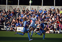 Kansas City, MO - Saturday May 28, 2016: FC Kansas City forward Shea Groom (2) goes for a header against Orlando Pride defender Monica Hickman Alves (21) and defender Josee Belanger (9). FC Kansas City defeated Orlando Pride 2-0 during a regular season National Women's Soccer League (NWSL) match at Swope Soccer Village.
