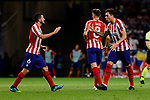 Jorge Resurreccion 'Koke' (L) and Jose Maria Gimenez (R) of Atletico de Madrid celebrate goal during UEFA Champions League match between Atletico de Madrid and Juventus at Wanda Metropolitano Stadium in Madrid, Spain. September 18, 2019. (ALTERPHOTOS/A. Perez Meca)