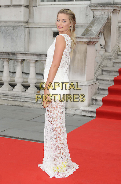Margot Robbie<br /> attended the &quot;About Time&quot; UK film premiere to open Somerset House's Film4 season of outdoor cinema, Somerset House, the Strand, London, England, UK, 8th August 2013.<br /> full length white crochet lace sheer dress sleeveless long maxi back over shoulder rear behind gold clutch bag <br /> CAP/CAN<br /> &copy;Can Nguyen/Capital Pictures