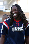 06 December 2014: New England's Shalrie Joseph. Major League Soccer held a training sessions at the StubHub Center in Carson, California one day before the Los Angeles Galaxy hosted the New England Revolution in MLS Cup 2014.