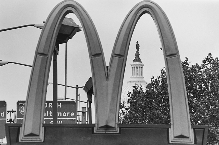 The Capitol Hill through the McDonalds arches on South Capitol side in May 1997. (Photo by Maureen Keating/CQ Roll Call via Getty Images)