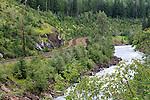 Railroad and Kicking Horse River, British Columbia, Canada