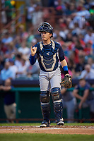 Brooklyn Cyclones catcher Nick Meyer (26) signals to the defense during a game against the Tri-City ValleyCats on August 21, 2018 at Joseph L. Bruno Stadium in Troy, New York.  Tri-City defeated Brooklyn 5-2.  (Mike Janes/Four Seam Images)