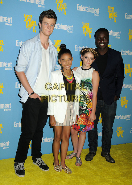 Jack Quaid, Amandla Stenberg, Willow Shields, Dayo Okeniyi.Entertainment Weekly's Comic-Con 2012 Celebration held at the Hard Rock Hotel Float Lounge, San Diego, California, USA..July 14th, 2012.full length dress floral tropical red pink orange white green print hair up braid plait shirt blue skirt beige top.CAP/ADM/BP.©Byron Purvis/AdMedia/Capital Pictures.