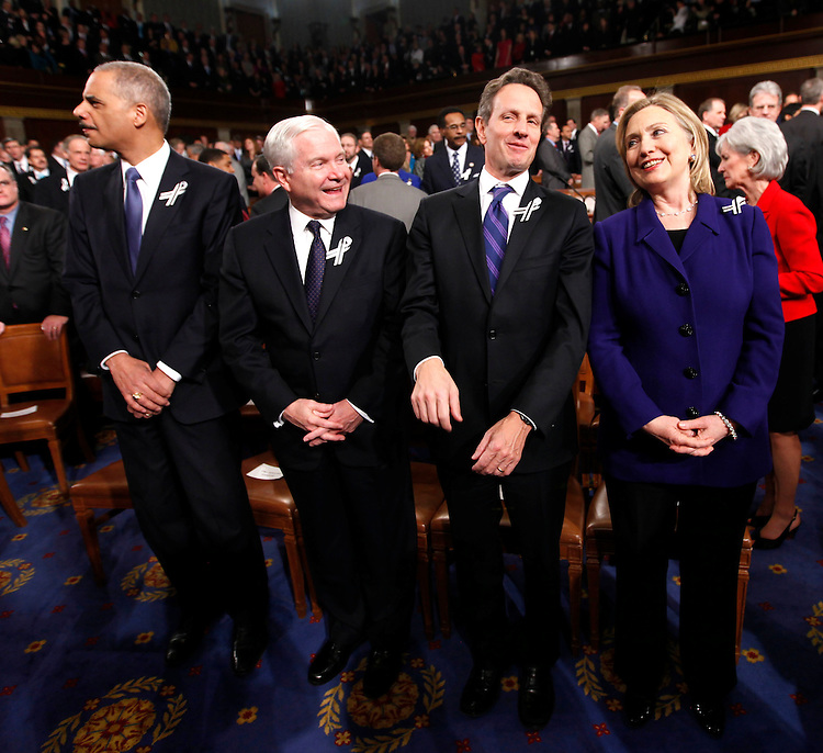 Members of President Barack Obama's Cabinet, from left, Attorney General Eric Holder, Defense Secretary Robert Gates, Treasury Secretary Timothy Geithner and Secretary of State Hillary Rodham Clinton are seen on Capitol Hill in Washington, Tuesday, Jan, 25, 2011, prior to the start of the president's State of the Union address.  (AP Photo/Pablo Martinez Monsivais, Pool)