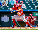 1 March 2019: Washington Nationals outfielder Andrew Stevenson lays down a sacrifice bunt in the 4th inning of a Spring Training game against the Miami Marlins at Roger Dean Stadium in Jupiter, Florida. The Nationals defeated the Marlins 5-4 in Grapefruit League play. Mandatory Credit: Ed Wolfstein Photo *** RAW (NEF) Image File Available ***