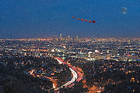 Christmas, Xmas, Santa Claus, Reindeers, L.A. Night,  Holiday, Snowing, Downtown Cityscape, Skyline, 101 Freeway,