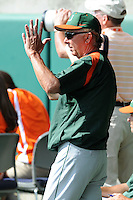 Head Coach Jim Morris #3 instructs his team during a  game against the Clemson Tigers at Doug Kingsmore Stadium on March 31, 2012 in Clemson, South Carolina. The Tigers won the game 3-1. (Tony Farlow/Four Seam Images).