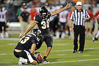 24 September 2011:  FIU kicker Jack Griffin (38) kicks an extra point in the third quarter as the University of Louisiana-Lafayette Ragin Cajuns defeated the FIU Golden Panthers, 36-31, at FIU Stadium in Miami, Florida.