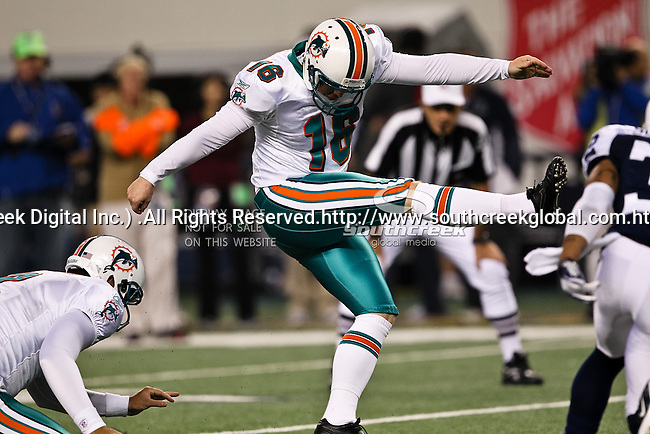 Miami Dolphins kicker Shayne Graham (16) in action during the Thanksgiving Day game between the Miami Dolphins and the Dallas Cowboys at the Cowboys Stadium in Arlington, Texas. Dallas defeats Miami 20 to 19...