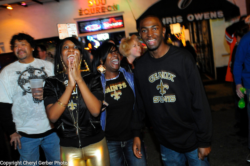 New Orleans Saints react to the win of the NFC Championship game against the Minnesota Vikings,  New Orleans, Sunday, Jan. 24, 2010..(AP Photo/Cheryl Gerber)
