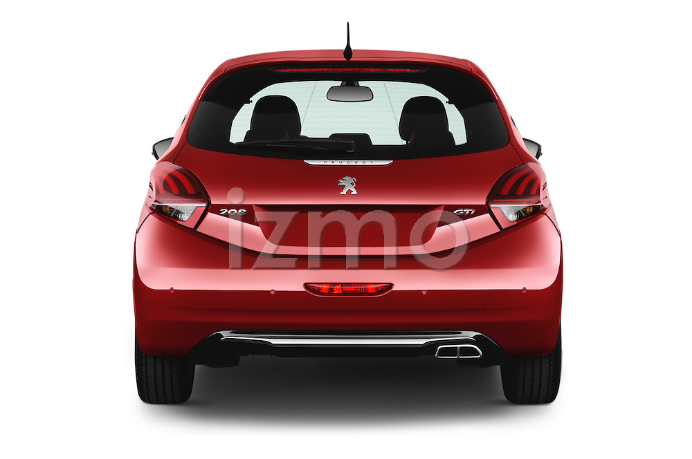 Straight rear view of 2016 Peugeot 208 GTI 3 Door Hatchback 2WD Rear View  stock images